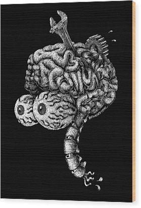 Gearhead Wood Print by Bomonster