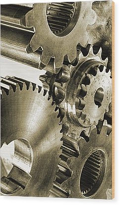 Gears And Cogwheels In Antique Look Wood Print