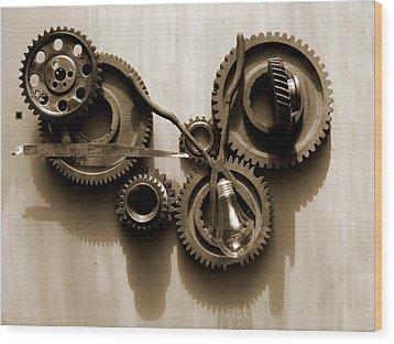 Gears Iv Wood Print by Jan Brieger-Scranton