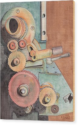Gears Wood Print by Ken Powers