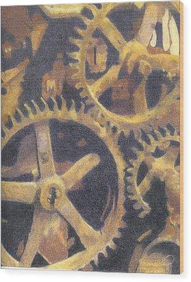 Gears Wood Print by Ronine McIntyre