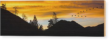 Wood Print featuring the photograph Geese At Sunrise by Shane Bechler