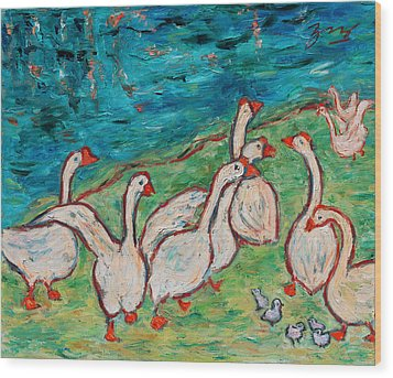 Wood Print featuring the painting Geese By The Pond by Xueling Zou