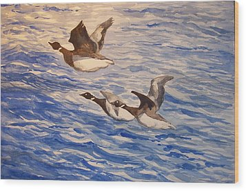 Geese In Flight Wood Print by Siona Koubek