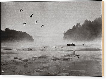 Geese Over Great Bay Wood Print