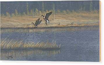 Wood Print featuring the painting Geese by Richard Faulkner