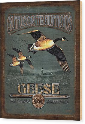 Geese Traditions Wood Print by JQ Licensing