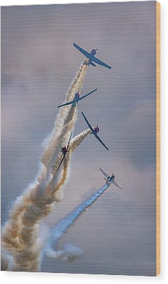 Wood Print featuring the photograph Geico Skytypers Tree Of Smoke by Rick Berk