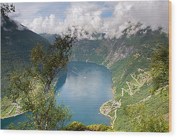 Geirangerfjord With Birch Wood Print
