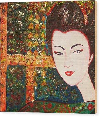 Geisha Wood Print by Anastasis  Anastasi