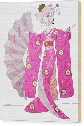 Geisha Barbie -- Whimsical Geisha Girl Drawing Wood Print