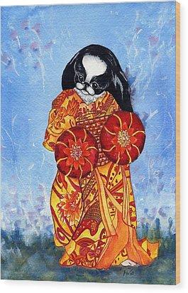 Geisha Chin Wood Print by Kathleen Sepulveda