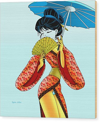 Geisha Girl Wood Print by Lynn Rider
