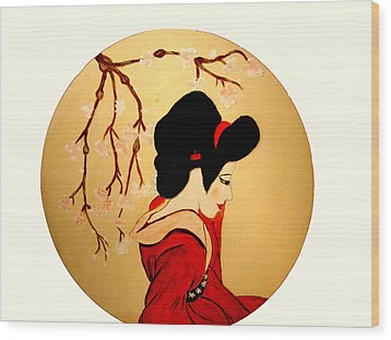 Geisha Girl Wood Print