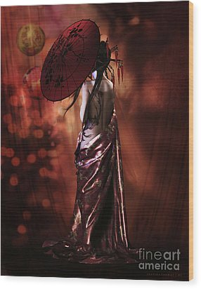 Wood Print featuring the digital art Geisha Gold by Shanina Conway