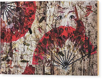 Geisha Grunge Wood Print by Paula Ayers