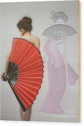 Geisha Wood Print by Liane Wright