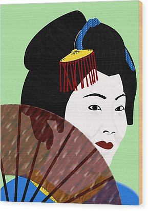 Geisha Wood Print by Melissa Stinson-Borg