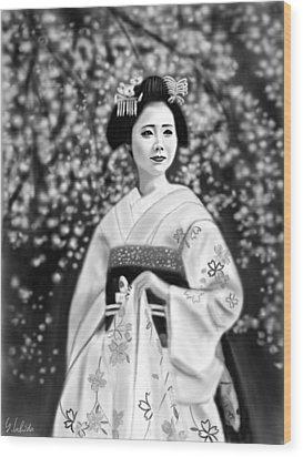 Geisha No.146 Wood Print by Yoshiyuki Uchida