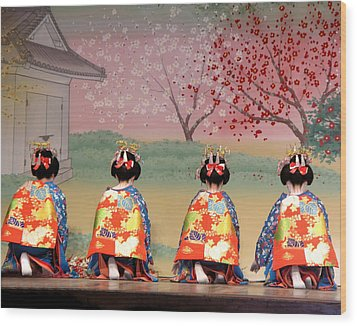 Geisha Row Wood Print