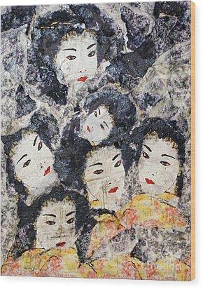 Geisha Wood Print by Shelley Jones