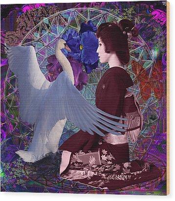 Geisha Swan Dance Wood Print