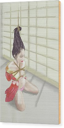 Wood Print featuring the mixed media Geisha by TortureLord Art