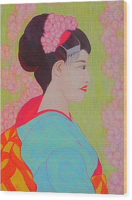 Geisha With Cherry Blossoms Wood Print