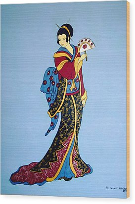 Wood Print featuring the painting Geisha With Fan by Stephanie Moore