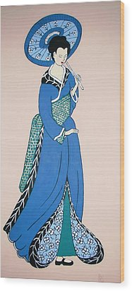 Wood Print featuring the painting Geisha With Parasol by Stephanie Moore