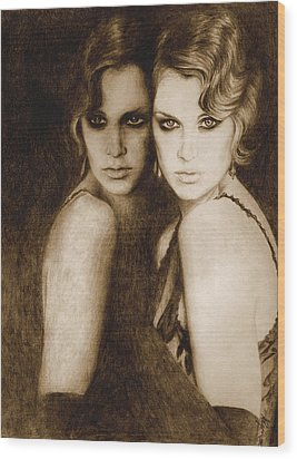 Wood Print featuring the painting Gemini by Ragen Mendenhall