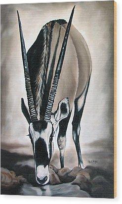 Gemsbok - Thirst Wood Print by Ilse Kleyn