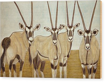 Gemsboks Or 0ryxs Triptych Wood Print by Isabelle Ehly