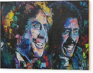 Wood Print featuring the painting Gene Wilder And Richard Pryor by Richard Day