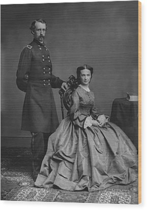 General Custer And His Wife Libbie Wood Print by War Is Hell Store