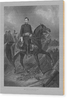 Wood Print featuring the mixed media General George Mcclellan On Horseback by War Is Hell Store