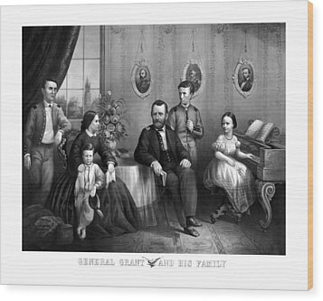 Wood Print featuring the mixed media General Grant And His Family by War Is Hell Store
