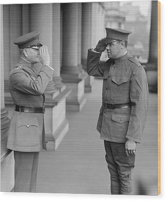 General John Pershing Saluting Babe Ruth Wood Print