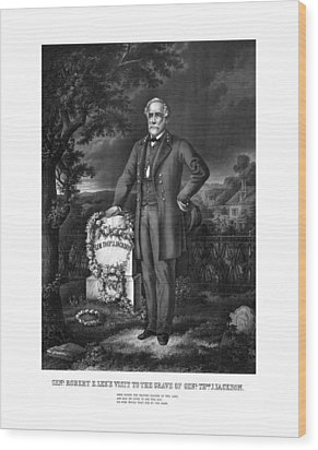 General Lee Visits The Grave Of Stonewall Jackson Wood Print by War Is Hell Store