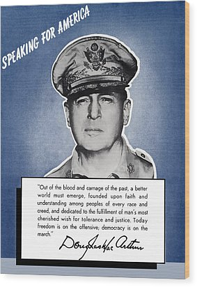 General Macarthur Speaking For America Wood Print by War Is Hell Store