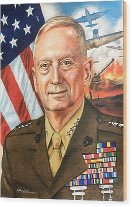 General Mattis Portrait Wood Print by Robert Korhonen