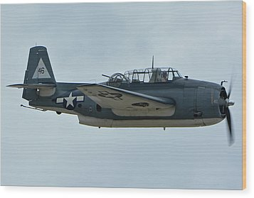 General Motors Tbm-3e Avenger Nx7835c Chino California April 30 2016 Wood Print by Brian Lockett