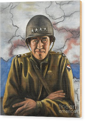 General Omar Bradley Wood Print by Richard Barone