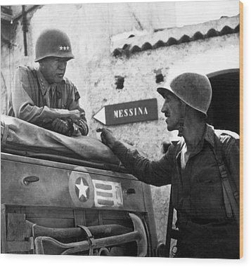 General Patton In Sicily Wood Print by War Is Hell Store
