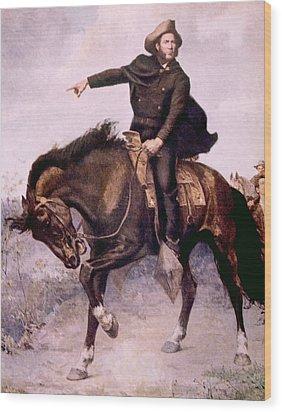 General Sam Houston At The Battle Wood Print by Everett