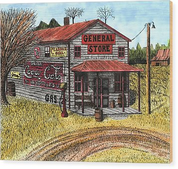 General Store Wood Print by Mike OBrien