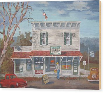 Wood Print featuring the painting General Store by Tony Caviston