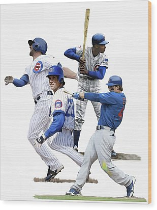 Wood Print featuring the painting Generations Cubs I  The Chicago Cubs by Iconic Images Art Gallery David Pucciarelli