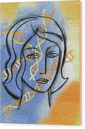 Wood Print featuring the painting Genetics by Leon Zernitsky