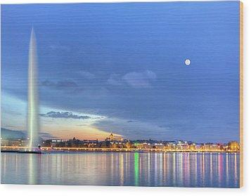 Geneva Lake With Famous Fountain, Switzerland, Hdr Wood Print by Elenarts - Elena Duvernay photo